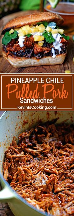 This slow simmered Pineapple Guajillo Chile Pulled Pork is stuffed in a ciabatta roll, layered on top of mashed black beans, a drizzle of Mexican crema, cilantro and diced pineapple.  via @keviniscooking