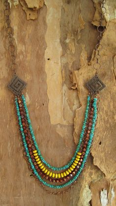 Ethnic look turquoise and yellow copper necklace