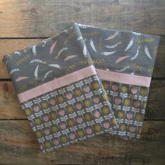 Handmade Pillowcases 100% Cotton - Gray Gardens - Set of 2 by Palindrome Dry Goods on Etsy. #handmadepillowcase #handmadepillow #grayandpink #grayandpinkpillowcase