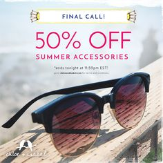 Last chance! Celebrate Labor Day with 50% OFF summer accessories 'til tonight at 11:59pm EST.  Visit http://www.LainysCandiBoutique.com to soak up the savings.