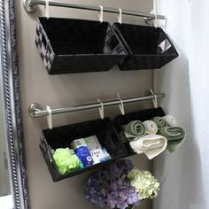 Love! Towel holders Craft ribbon and baskets...DIY Shelving