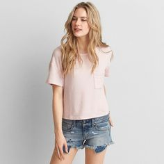 AEO Soft & Sexy Plush Pocket T-Shirt ($15) ❤ liked on Polyvore featuring tops, t-shirts, pink and american eagle outfitters