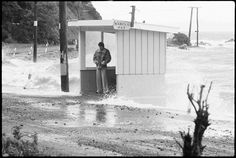 Bus Stop in a storm, Mahina Bay, Eastbourne - 1975 . Bus Stop, British Isles, Old Photos, New Zealand, Past, 15 June, Waves, Nooks, Youth
