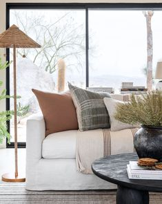 Hand-loomed and naturally dyed, this wool pillow cover features a subtle geometric pattern alongside its classic stripes. Finished with a playful fringed edge, this pillow easily elevates your existing textile design. Down insert not included. Coastal Living Rooms, Living Room White, White Rooms, Living Room Colors, New Living Room, Living Room Sofa, Living Room Designs, Dark Grey Sofa Living Room Ideas, White Walls