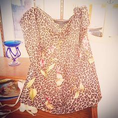 Express silk cami on a cute light/dark grey cheetah with splashes of pink flowers. Random and adorable