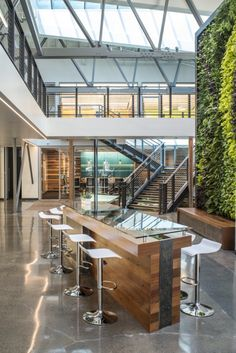 Wine Bar DPR Construction, San Francisco Offices by FME Architecture #Breakout #Greenwall #Highbench