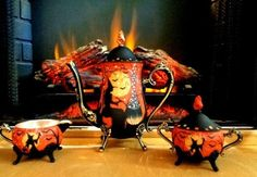 VINTAGE SILVER PLATE HALLOWEEN WITCHES BLACK CATS TEA SET HP by Peggy G