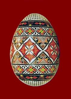 Goose egg pysanka - Ukrainian.