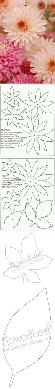 Padrões de flores e folhas (foamiran)