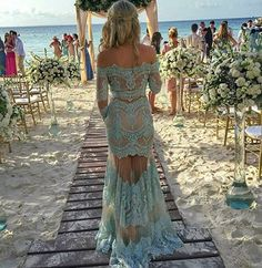 Boat Neck Two Pieces Lace Prom Dresses, Off The Shoulder Long Sleeve Prom Dresses, 2017 Turquoise Lace Party Dresses With Long Sleeve, Illusion sold by AmazingHa on Storenvy Evening Dresses For Weddings, Prom Dresses 2017, Lace Evening Dresses, Bridesmaid Dresses, Formal Dresses, Blue Lace Prom Dress, Prom Dresses Long With Sleeves, Lace Party Dresses, Long Prom Dresses