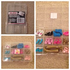 Took a plain organizer I found at the dollar store, took the old sticker off, put on a cute Barbie sticker, and viola! Cute organizer for Barbie shoes or accessories! Barbie Organization, Barbie Storage, Doll Storage, Kid Toy Storage, Playroom Organization, Organisation, Barbie Doll Accessories, Barbie Shoes, Barbie Clothes