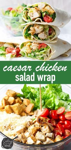 Grilled Chicken Caesar Salad Wrap! This easy grilled chicken Caesar wrap is so easy and delicious! Flavorful grilled chicken, fresh romaine lettuce, tomatoes, and croutons in a Caesar dressing #caesarsalad #chickencaesar #caesarwrap #chickenwrap #cookingformysoul | cookingformysoul.com