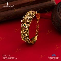Jadtar Bracelet gms) - Antique Jewellery for Women by Jewelegance New Gold Jewellery Designs, Gold Bangles Design, Antique Jewellery, Antique Bracelets, Gold Jewelry Simple, Stylish Jewelry, Gold Bracelet For Women, Ladies Bracelet, Bracelet Designs
