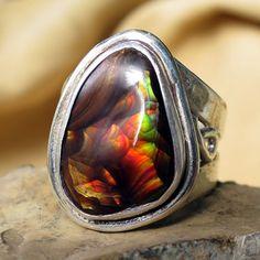 Hand Cut Fire Agate Ring in Sterling Silver by HawkandOwlJewelry