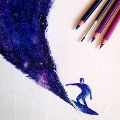 Galaxy Surfing #drawing