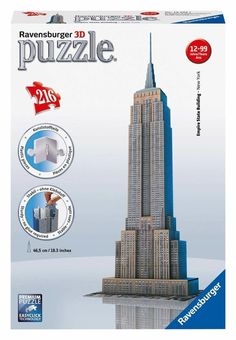 NEW 3D Jigsaw Puzzle 216 Piece Ravensburger EMPIRE STATE BUILDING New York City #Ravensburger