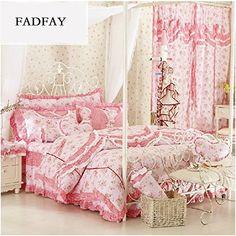 FADFAY Home Textil, Baumwolle, Spitze, Rüschen, Rustikal, Elegante Bettwäsche Blumen Jacquard Mädchen, Bettdecken, Bettzeug, Motiv Korea, baumwolle, Queen