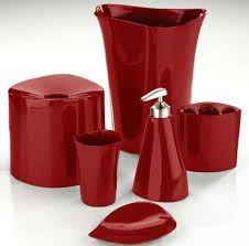Red Bathroom Accessories to Brighten Up Your Bathroom red bathroom accessories sets uk YSUHPSD Red Bathroom Accessories, Black Bathroom Decor, Black White Bathrooms, Bathroom Red, Bathroom Decor Sets, Red Accessories, Bathroom Curtains, Red Bathrooms, Bathroom Ideas
