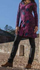 Veste mi-longue à capuche Ethnique et Colorée Guirec Rose sur le site www.akoustik-online.com.