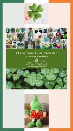 Crochet for St Patrick's Day with 31 fun and festive crochet patterns! Crochet Designs, Crochet Patterns, Crochet Gifts, Crochet Things, Free Crochet, Elf Hat, Different Holidays, Homemade Crafts, Crochet Fashion
