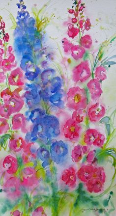 RESERVED for Barbara abstract delphinium original watercolor painting garden flower landscape contemporary fine art via Etsy