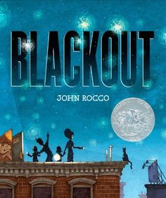 """Blackout von John Rocco / One hot summer night in the city, all the power goes out. The TV shuts off and a boy wails, """"Mommm!"""" His sister can no longer use the phone, Mom can't work on her computer, and Dad can't finish cooking dinner. What's a family to do? When they go up to the roof to escape the heat, they find the lights--in stars that can be seen for a change--and so many neighbors it's like a block party in the sky!"""