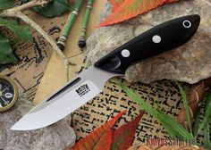 Bark River Knives: Adventurer Neck Knife - CPM 20CV - Black Canvas Micarta
