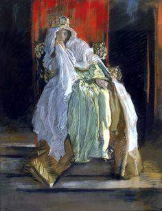 "Edwin Austin Abbey: The Queen in ""Hamlet"" 1895. Smithsonian American Art Museum, Washington, D.C. #pastel #Academicism #Abbey"