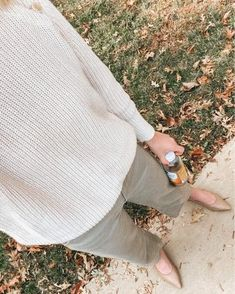 wide leg crop pants, green pants, beige sweater, nude flats, fall outfit, women's fashion, women's style | @louellareese | LIKEtoKNOW.it Simply Fashion, Women's Fashion, Fashion Trends, Nude Flats, Wide Leg Cropped Pants, Beige Sweater, Green Pants, Feminine Style, Outfit Posts