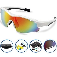 Ponosoon Sports Sunglasses Glasses Polarized with 5 Set Interchangeable Lenses for Cycling 0819 (white&black)