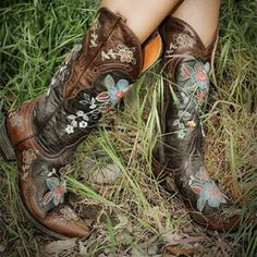 """Old Gringo """"Bonnie"""" Embroidered Cowgirl Boots Floral-embroidered distressed leather cowgirl boots by Old Gringo. Like new, only worn twice! Round/snip toe, pull-on style. 1 1/2"""" stacked heal and 13""""H shaft. You will not find a better deal on these gorgeous boots!  A romantic & feminine work of art that can be dressed up or down! Fits true to size. Old Gringo Shoes Heeled Boots"""