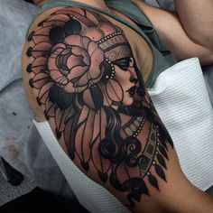 http://tattooideas247.com/headdress-sleeve/ Headdress Sleeve #ARM, #Face, #Headdress, #Portrait, #Shoulder, #Sleeve
