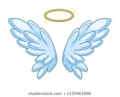 A pair of wide spread angel wings with golden halo or nimbus. Blue and white feathers. Contour drawing in modern line style with volume. Vector illustration isolated on white. Baby Angel Wings, White Angel Wings, Pencil Art Drawings, Easy Drawings, Angel Wings Drawing, Angel Vector, Angels Logo, Contour Drawing, Hand Lettering
