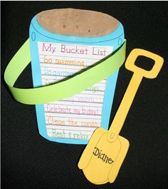 Bucket list of what kids want to do this summer. Sprinkle real sand on the top…