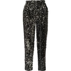Milly Sequined tulle straight-leg pants (1.420 RON) ❤ liked on Polyvore featuring pants, bottoms, milly, trousers, sequined, bow pants, drapey pants, straight leg trousers, party pants and draped pants