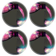 Sparkling Pink Stars Drink Beverage Round Coaster (4 Piece) Set Fabric Rubber 5 Inch Size Luxlady Coaster Cup Mug Can Water Bottle Drink Coasters Stain Resistance Collector Kit Kitchen Table Top Desk