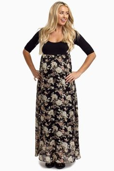 a57f7895be35 Black-Floral-Chiffon-Bottom-Maternity-Maxi-Dress This floral chiffon bottom  maternity maxi dress has a gorgeous rose printed detail and free flowing  chiffon ...