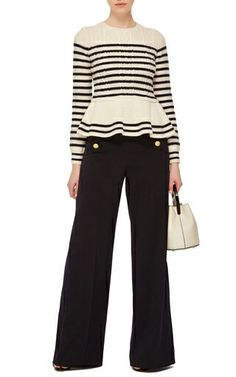 Red Valentino Peplum Striped Sweater Rendered in virgin wool, this striped **Red Valentino** sweater features a round neck, full length sleeves, and a peplum hem. Look Fashion, Autumn Fashion, Fashion Outfits, Knitwear Fashion, How To Purl Knit, Thing 1, Fall Sweaters, Work Attire, Work Wear
