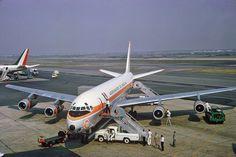 "Aeronaves de México Douglas DC-8-51 XA-PEI ""Tenochtitlan"" at New York-JFK, August 1966."