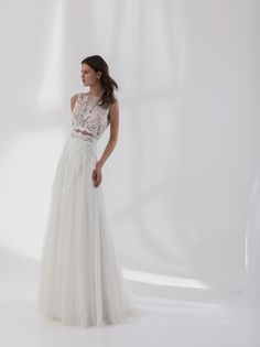 Off white A line dress made from a Chantilly beaded lace and a tulle skirt White A Line Dress, Bridal Wedding Dresses, Beaded Lace, Two Pieces, Dress Making, Off White, Tulle, Couture, Formal Dresses
