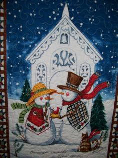Church with Snowmen and cat wall quilt winter by ExpressionQuilts, $34.00