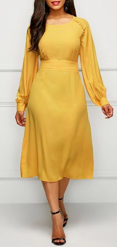 Band Waist Long Sleeve Yellow Dress This weight fabric is very unflattering to heavy hips/thighs - creates drag lines Modest Fashion, Women's Fashion Dresses, Sexy Dresses, Cute Dresses, Beautiful Dresses, Casual Dresses, Midi Dresses, Sleeve Dresses, Party Dress Sale