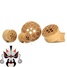 honeybee logo wood ear plugs piercing tunnels body jewelry sell by pair ear reamer