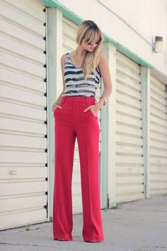 NAVY[summer]: classic red trousers; striped top