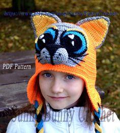4ee0954b60a Crochet Hat pattern Baby Animal Hat Cat hat by SunnyBunnyCrochet Crochet  Animal Hats