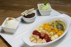Frutas grelhadas e degustação de sorvetes