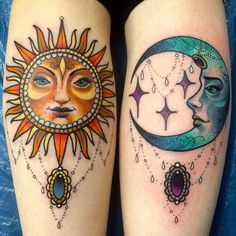 Sun & Moon Tattoo Design Beautiful <3 the colors think my next tattoo needs color :)