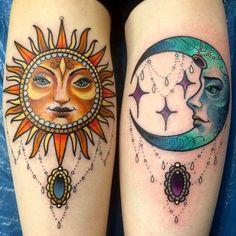 Sun & Moon Tattoo Design Beautiful