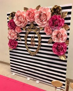 Kate spade inspired photo booth large medium and small roses in colors hot pink pink soft pink and gold Pink Und Gold, Rose Gold, Paper Flower Backdrop, Paper Flowers, Gold Backdrop, Birthday Party Decorations, Wedding Decorations, Pink And Gold Decorations, Wedding Ideas