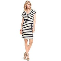 """Tommy Hilfiger women's dress. Parisian stripes and a flattering neckline transform our sleeveless dress into something trés belle. Styled soft and easy in fabric that feels magnifique. <br/>• Classic fit, approximately 36"""" from shoulder to hem.<br/>• 76% viscose, 18% synthetic, 6% linen.<br/>• Drawstring waist, lined, microflag at hem.<br/>• Machine washable.<br/>• Imported.<br/><br/>"""